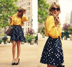 Polka dot skirt with yellow top. I love it.