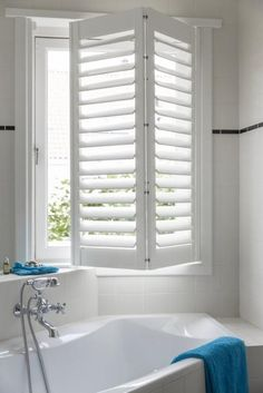 Tracked And Bypass Shutters. Offering The Perfect Solutions For Big Windows – Call Today To Arrange A Free Home Consultation With Our Shutters Experts. Interior Doors For Sale, Home, Bathroom Windows, Windows, Blinds, Window Shutters Indoor, Diy And Home Improvement, Indoor Shutters, Bathroom Design