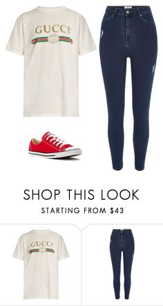 """Gucci"" by beccastylesxoxo ❤ liked on Polyvore featuring Gucci, River Island and Converse"