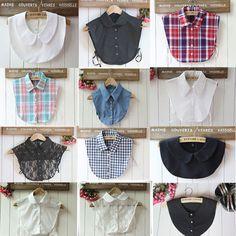 US Women Detachable False Collar Peter Pan Shirt Lapel Choker Necklace Collars Sewing Clothes, Diy Clothes, Collar Shirts, Shirt Blouses, Look Fashion, Diy Fashion, Fashion Design, Diy Cape, Lace Collar