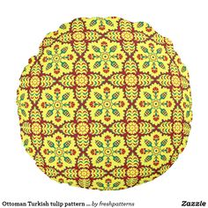 Ottoman Turkish tulip pattern in red and yellow Round Pillow
