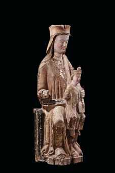 A POLYCHROME WOOD GROUP OF THE VIRGIN AND CHILD ENTHRONED