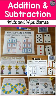 Teaching addition and subtraction with regrouping? Check out these write and wipe games! Great for math centers and easy to prep! Just print and place them in a page protector!