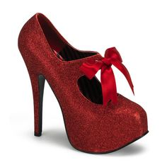 Bordello - TEEZE Heel Glitter Platform ribbon Bow Tie Red Mini Glitter      Live a luscious life with LUSCIOUS: www.myLusciousLife.com