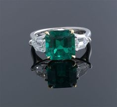 Emerald Cut Colombian Emerald and Diamond Ring E=4.44cts   D=1.97cts Plat  $150K
