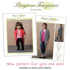 Girl and Doll Matching pattern - for girls, tweens, and adults - Bonjour Teaspoon - Liberty Jane Patterns