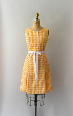 1960s Vintage Dress 60s Orange Gingham Scooter by Sweetbeefinds