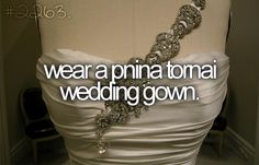 Bucket List: Wear a Pnina Tornai wedding gown. They're extremely expensive to buy but at least try one on