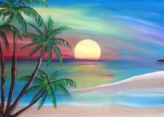 Your place to buy and sell all things handmade : Sunset Beach Painting Original Artwork by SaltedVinegarStudios Sunset Art, Sunset Beach, Beach Sunset Painting, Summer Sunset, Original Artwork, Original Paintings, Palm Tree Art, Tree Tree, Beautiful Paintings