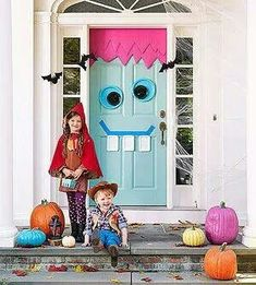 Fun halloween decor...not scary  Monster Door - painters tape, colored poster board and plastic plates