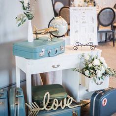 Adorable entry display using our desk, some suitcases and a few floral designs for a travel themed engagement party by @classyaffairsto Photo: @emilychristinephoto . . . . . . . #themanor #redcrest #hollandmarshwinery #cardinalgolfclub #thedoctorshouse #waterstoneestates #kingvalleygolfclub #madsensgreenhouse #belcroftestates #sharontemple  #vintagerentals #weddingrentals #yorkregionweddings #yorkregionwedding #newmarketweddings #ontarioweddings #ontarioweddingrentals #yorkregionflorist…