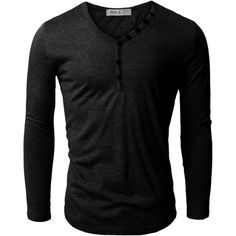 Doublju Mens Henley T-shirts with Button Placket ($13) ❤ liked on Polyvore featuring men's fashion, men's clothing, men's shirts, men's t-shirts, mens t shirts, mens henley t shirt and mens henley shirts