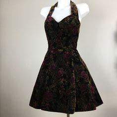 Vtg Velvet Dress Rampage 90s Sweetheart Neckline Halter Floral Tulle Boho 5 #Rampage #Party