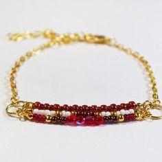 Bracelet gourmette rouge/blanc/doré