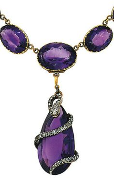 A mid 19th century amethyst and diamond necklace  The gold-mounted graduated oval amethyst necklace suspending a later pear-shaped amethyst single stone drop with applied, rose-cut diamond coiled serpent motif, 38.0cm long, later fitted case