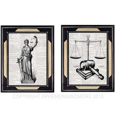 JUSTICE Lady and SCALE GAVEL 2 art prints law barrister lawyer office decor vintage dictionary text book page black white wall decor Chic Office Decor, Office Art, Lawyer Office, Lady Justice, White Wall Decor, Old Book Pages, Christian Wall Art, Inspirational Wall Art, Instagram Highlight Icons
