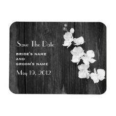 Orchids & Barnwood Save The Date Magnet by Jill's Paperie
