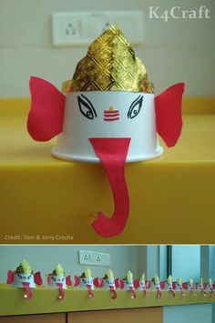 27 Easy Craft Ideas To Celebrate Ganesh Chaturthi with Kids - Craft Art N Craft, Craft Stick Crafts, Craft Work, Preschool Crafts, Craft Ideas, Craft Projects, Paper Crafts For Kids, Diy Arts And Crafts, Creative Crafts
