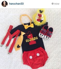 Mickey mouse Inspired Birthday outfit pieces -personalised onesie/tee and shorts/Diaper cover set 1st Birthday Outfits, First Birthday Parties, Boy Birthday, Birthday Nails, 1st Birthdays, Birthday Ideas, Boy Baptism Centerpieces, Baby Boy Baptism, Baby Baby