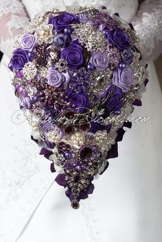 Purple Fantasy Cascade Wedding Brooch Bouquet by Ruby Blooms