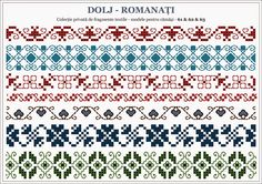 Semne Cusute: traditional Romanian motifs - OLTENIA, Dolj-Romanati Folk Embroidery, Cross Stitch Embroidery, Embroidery Patterns, Knitting Patterns, Cross Stitch Borders, Cross Stitching, Cross Stitch Patterns, Romanian Lace, Beading Patterns