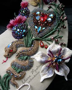 """Competitive necklace """"Time of love, time of sadness"""". Tambour Beading, Tambour Embroidery, Bead Embroidery Patterns, Couture Embroidery, Bead Embroidery Jewelry, Silk Ribbon Embroidery, Embroidery Fashion, Beaded Embroidery, Hand Embroidery"""