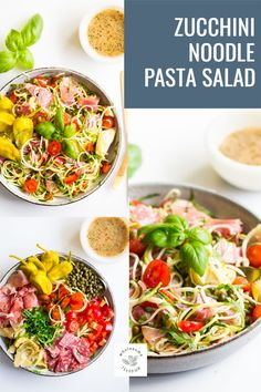 The classic Italian Pasta Salad gets a low carb makeover using zucchini noodles! It's loaded with Italian flavors, fresh herbs, and a delicious dressing. The perfect lunch, dinner, or side dish is sure to be devoured by all. 10 minutes is all you need to make this Zucchini Noodle Italian Pasta Salad! Pasta Salad Italian, Zucchini Noodles, Classic Italian, Fresh Herbs, Side Dishes, Dinner, Zuchinni Noodles, Vintage Italian, Dining