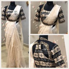 Ts sr 424 linen silver checks saree with a contrast ikkat worked blouse for orders queries call what's app us on 8341382382 mail us tejasarees com likeneverbefore tejasarees newdesigns sarees linens tejupavuluri hyd tejaethnicstudio sareelove workblo Sari Design, Choli Blouse Design, Saree Blouse Neck Designs, Bridal Blouse Designs, Pattern Blouses For Sarees, Simple Blouse Designs, Stylish Blouse Design, Style Indien, Checks Saree