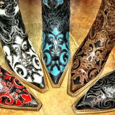 Cowboy Boots. Corral Lizard Overlay in gorgeous colors! At RiverTrail in North Carolina.