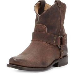 Frye Wyatt Leather Harness Ankle Boot ($235) ❤ liked on Polyvore featuring shoes, boots, ankle booties, dark brown, low heel booties, leather booties, short cowboy boots, leather cowboy boots y western booties