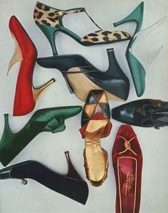 October Vogue 1956 Glam, super stylish heels from 1956 (you can see the earlier influenced styles of the decade starting to give away to the longer toe box styles of the late in these examples). 1950s Shoes, Retro Shoes, Vintage Shoes, Vintage Closet, Vintage Clothing, Vintage Vogue, Mode Vintage, 1950s Fashion, Vintage Fashion