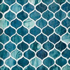 Marina Del Ray Arabesque Glass Mosaic - 8 x 10 - 100463090 Glass Mosaic Tiles, Wall Tiles, Tile Mosaics, Bathroom Interior Design, Home Interior, Arabesque Tile, Polished Porcelain Tiles, Stone Backsplash, Small Bathrooms
