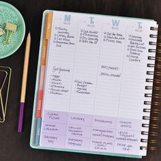 Vertical layout of the weekly planner