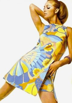Inspiration: Printed summer dress by Grès, 1967 vintage fashion style color photo print ad 60s 70s Mod Twiggy mini dress graphic pucci yellow blue white novelty model magazine