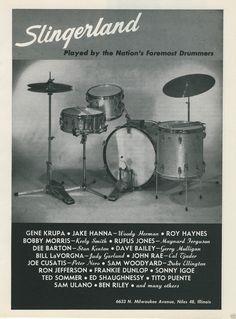 1964 SLINGERLAND Drums & Foremost Drummers List Krupa Haynes Dunlop Riley Etc Ad