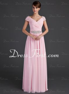 A-Line/Princess V-neck Floor-Length Chiffon Mother of the Bride Dress With Ruffle Beading (008015624)