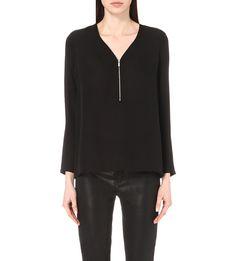 THE KOOPLES Zip-fastening V-neck silk top $168