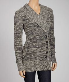 Take a look at this Gray Button Surplice Sweater on zulily today!