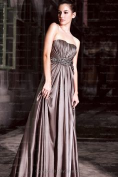 A-line Strapless Satin Floor-length Brown Sashes / Ribbons Evening Dress