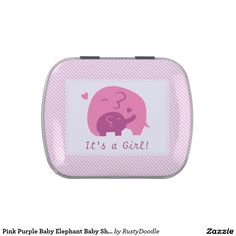 Pink Purple Baby Elephant Baby Shower Party treat Candy Tin