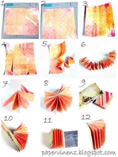 """Following the exact directions below will result in an album measuring 2"""" x 2.5"""" containing 11 double-sided pages but you can adjust the dimensions of the folds to yield an album of any size. The starting size paper for this exact album is 10"""" x 12"""""""