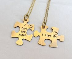Personalized couples Necklaces, custom couples necklace, puzzle piece, i love you more, girlfriend n 14k Gold Initial Necklace, Diamond Solitaire Necklace, Letter Necklace, Dainty Necklace, Necklace Set, Matching Couple Bracelets, Couple Necklaces, Couple Jewelry, Matching Couples