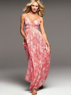 Victoria's Secret ~ The Sexy Maxi Dress (Coral Print)