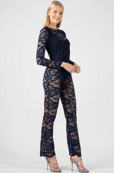 Floral Navy Lace Jumpsuit