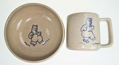 2 Pc Pigeon Forge Pottery Stoneware Child Bowl Cup Mug Bear Overalls Smoky Mount #PigeonForgePottery