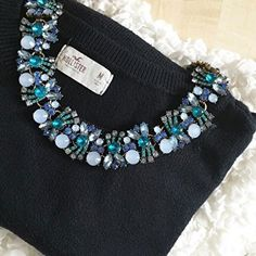 Pretty Ocean Blue Statement Necklace #ootd #fashionstyle #casual #fashion - 43,90 € @happinessboutique.com