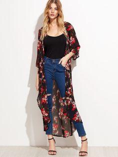 Black Floral Longline Chiffon Kimono — € -------------------color: Multicolor size: one-size Kimono Fashion, Fashion Clothes, Fashion Outfits, Floral Kimono Outfit, Flowy Pants Outfit, Chiffon Kimono, Floral Chiffon, Chiffon Fabric, Look Kimono