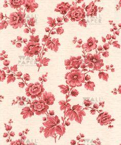Vintage behang - Roze bloemen1159