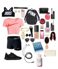 """@jmia5"" by maheremma ❤ liked on Polyvore featuring Victoria's Secret, NIKE, Kate Spade, Eos, NARS Cosmetics, NYX, MAC Cosmetics, OPI, Cachet and Movado"