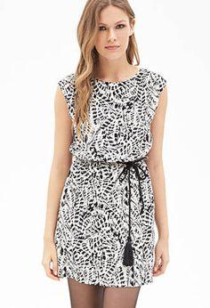 Abstract Brushstroke Pleated Dress | FOREVER21 - 2000119425